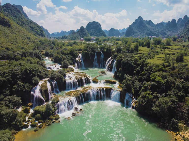 Ban Gioc–Detian Falls surrounded by lush, green scenery