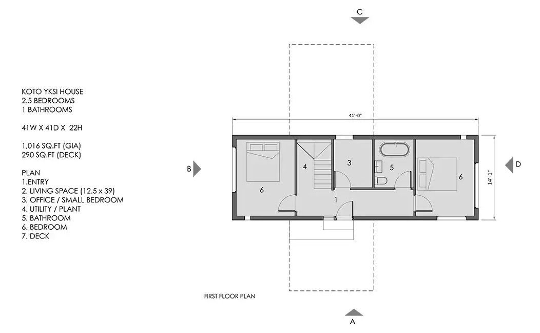 plan of lower level, KOTO 1 home