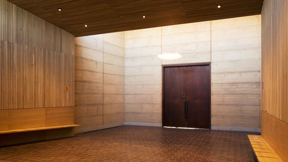 interior of rammed earth building