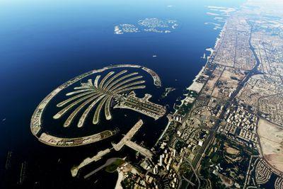 Satellite image of Dubai's Palm Islands