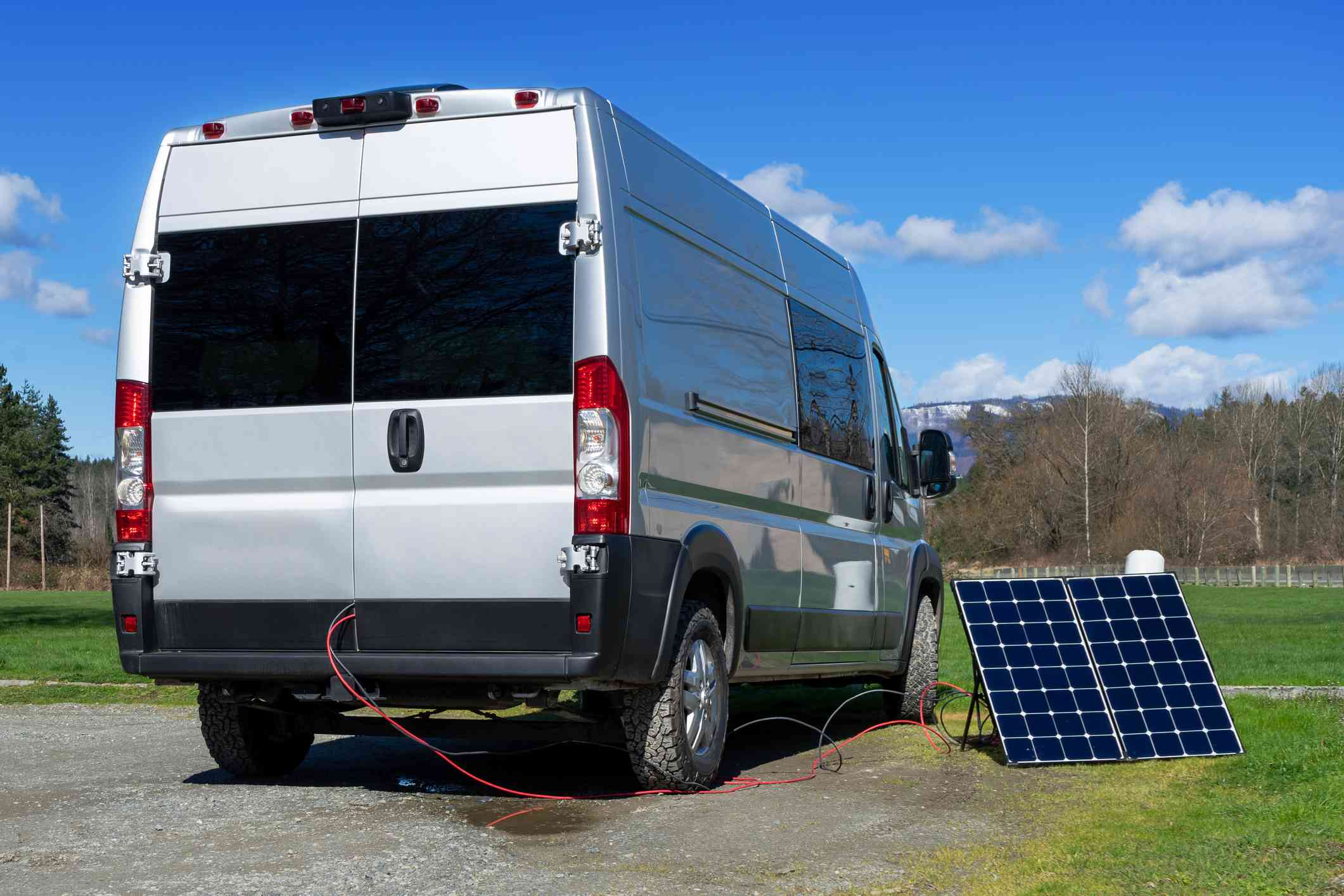 Van collecting energy from solar panel
