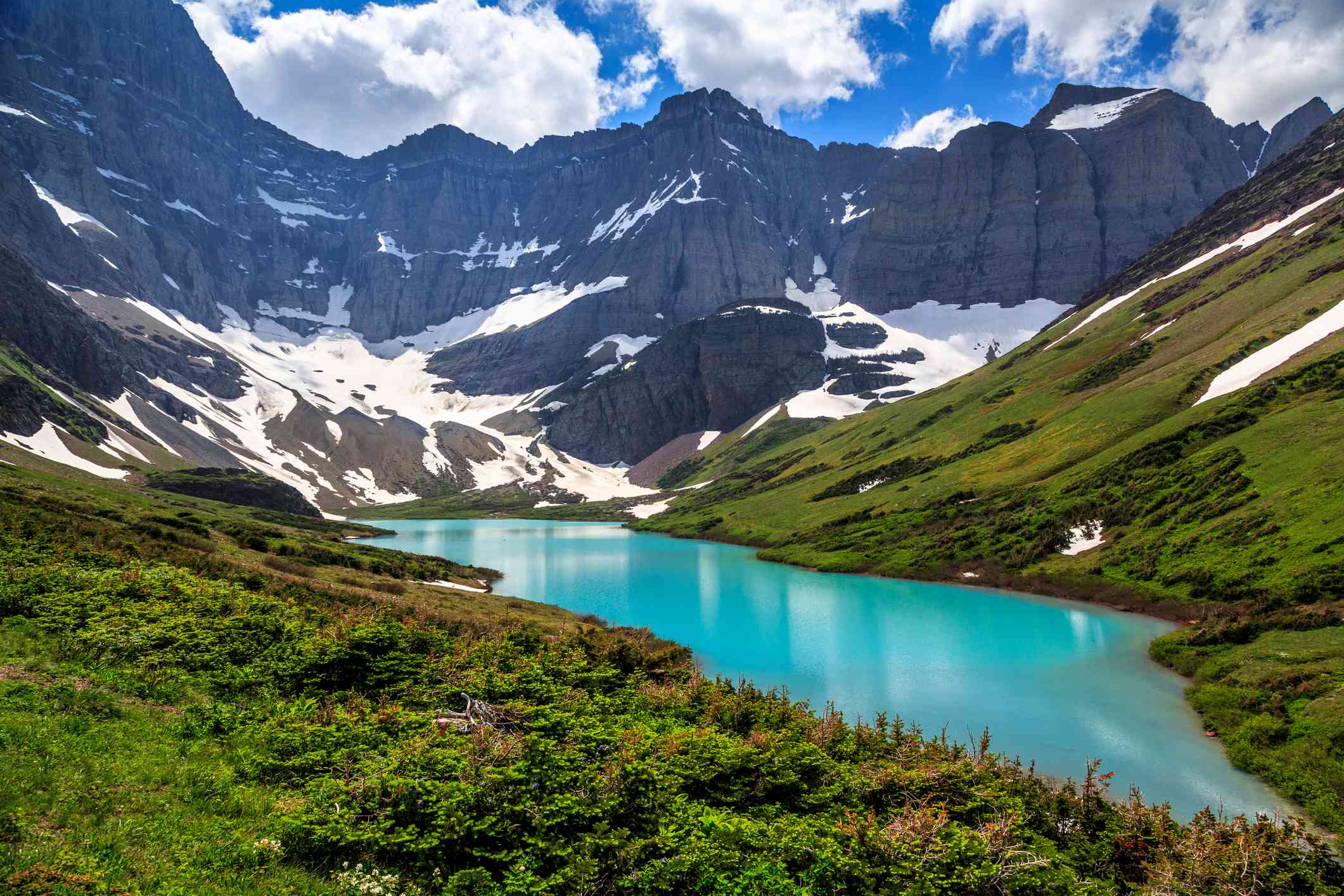 Cracker Lake and surrounding mountains in Glacier National Park