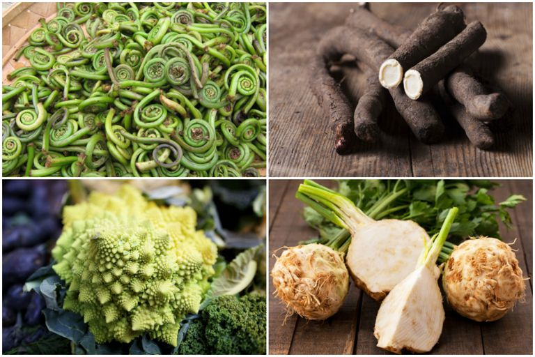Four images of exotic vegetables