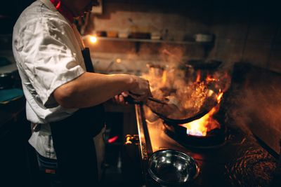 Cooking in Chinese Restaurant
