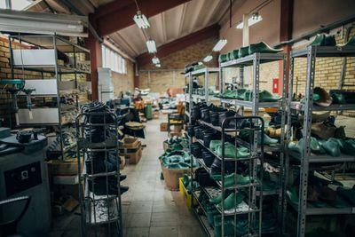 shoe factory, shelves