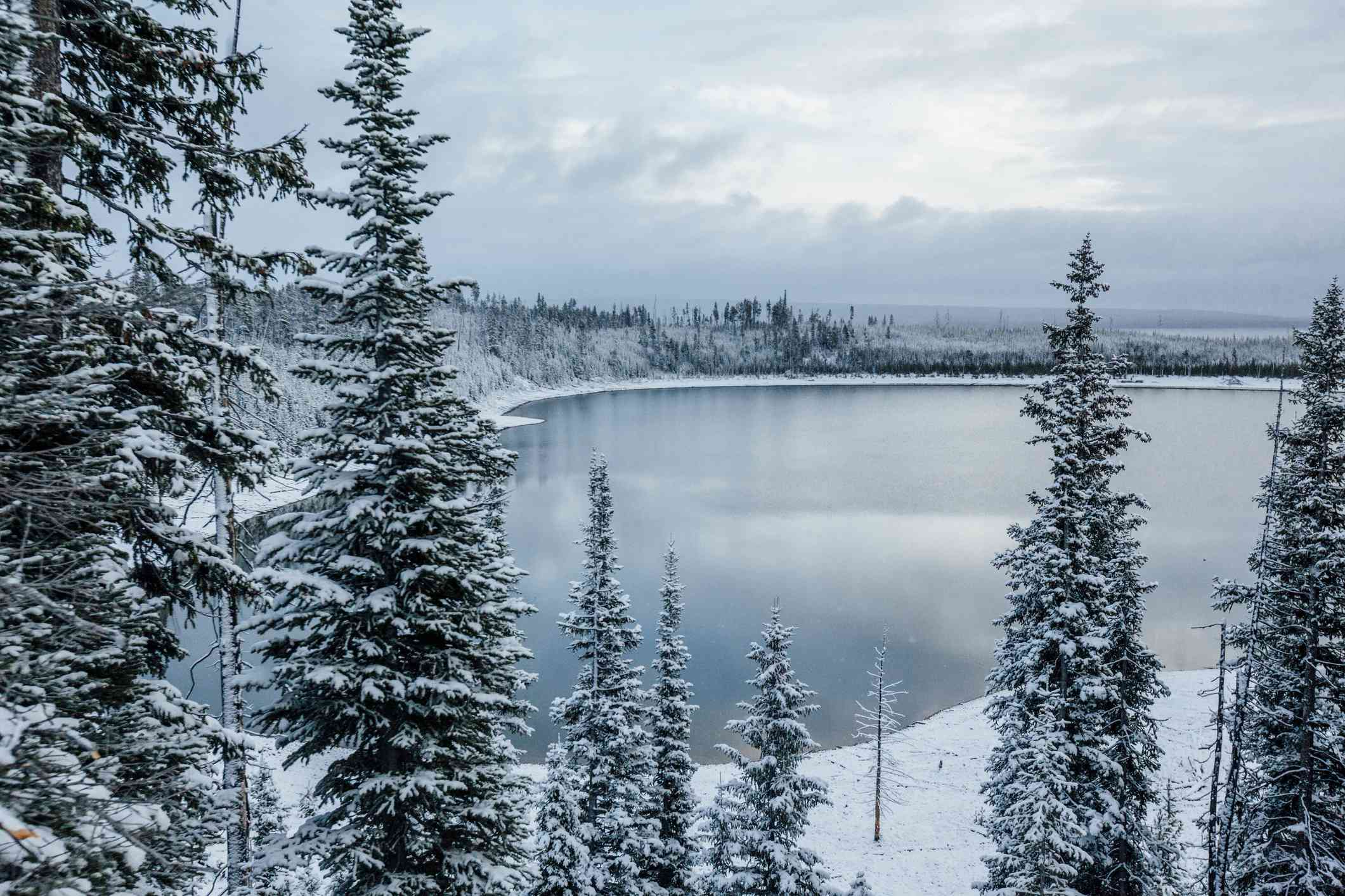 Yellowstone Lake freezes over in winter