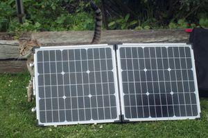 Portable solar panels sitting in the grass with a cat rubbing up against the corner