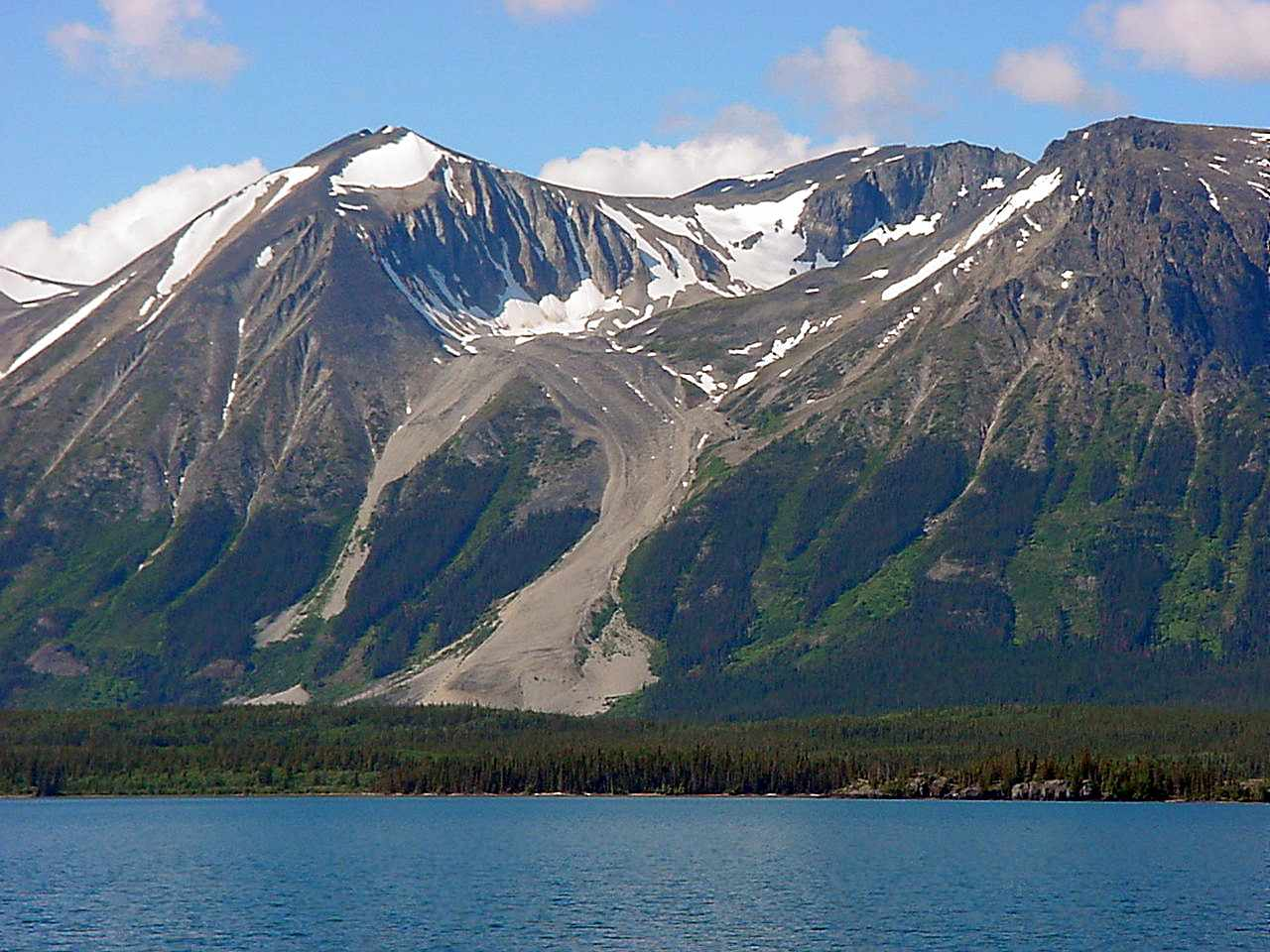 Rock glaciers can look like muddy landslides from the distance, such as the Atlin Rock Glacier in Juneau, Alaska.