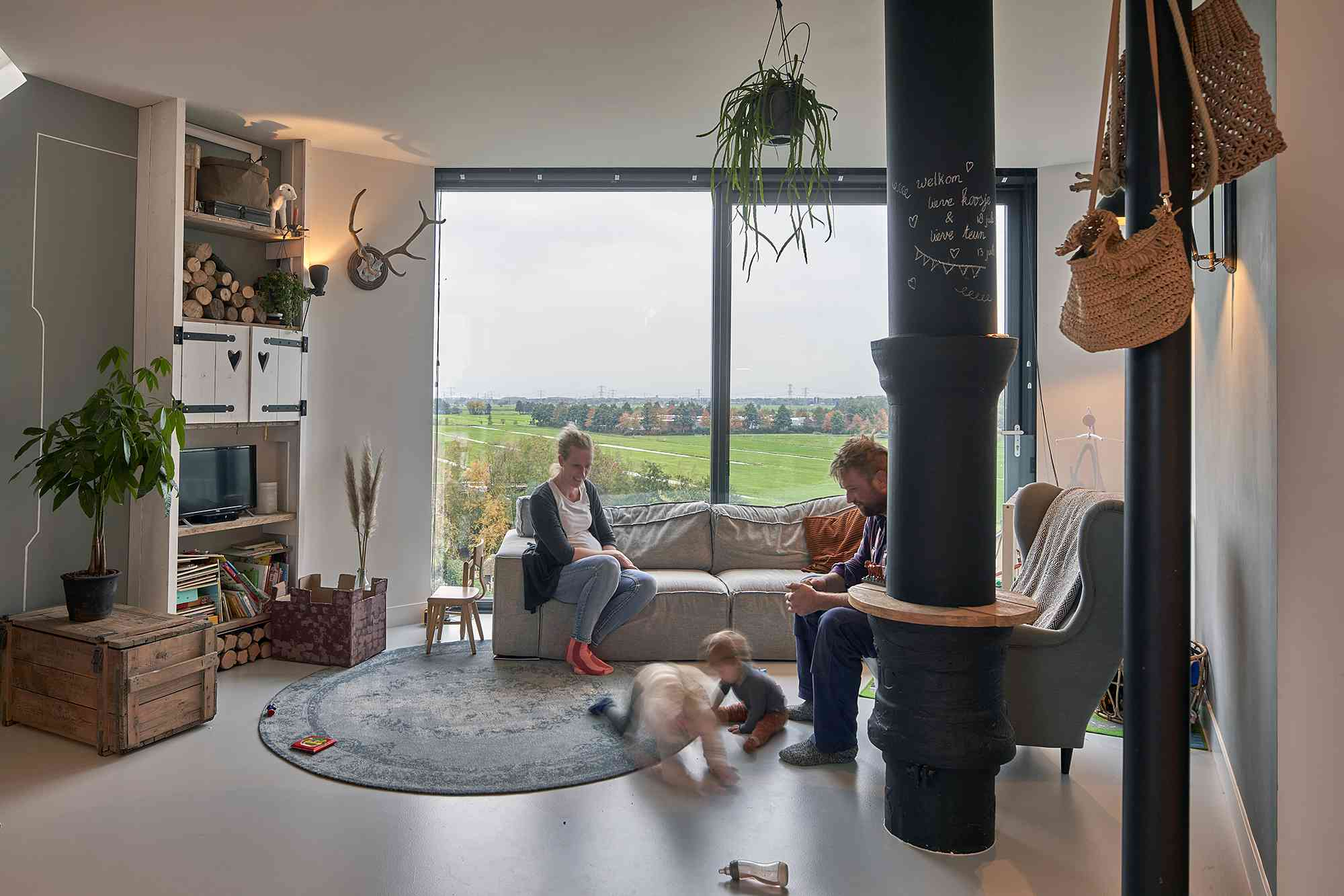 Dutch Water Tower family home RVArchitecture interior living room
