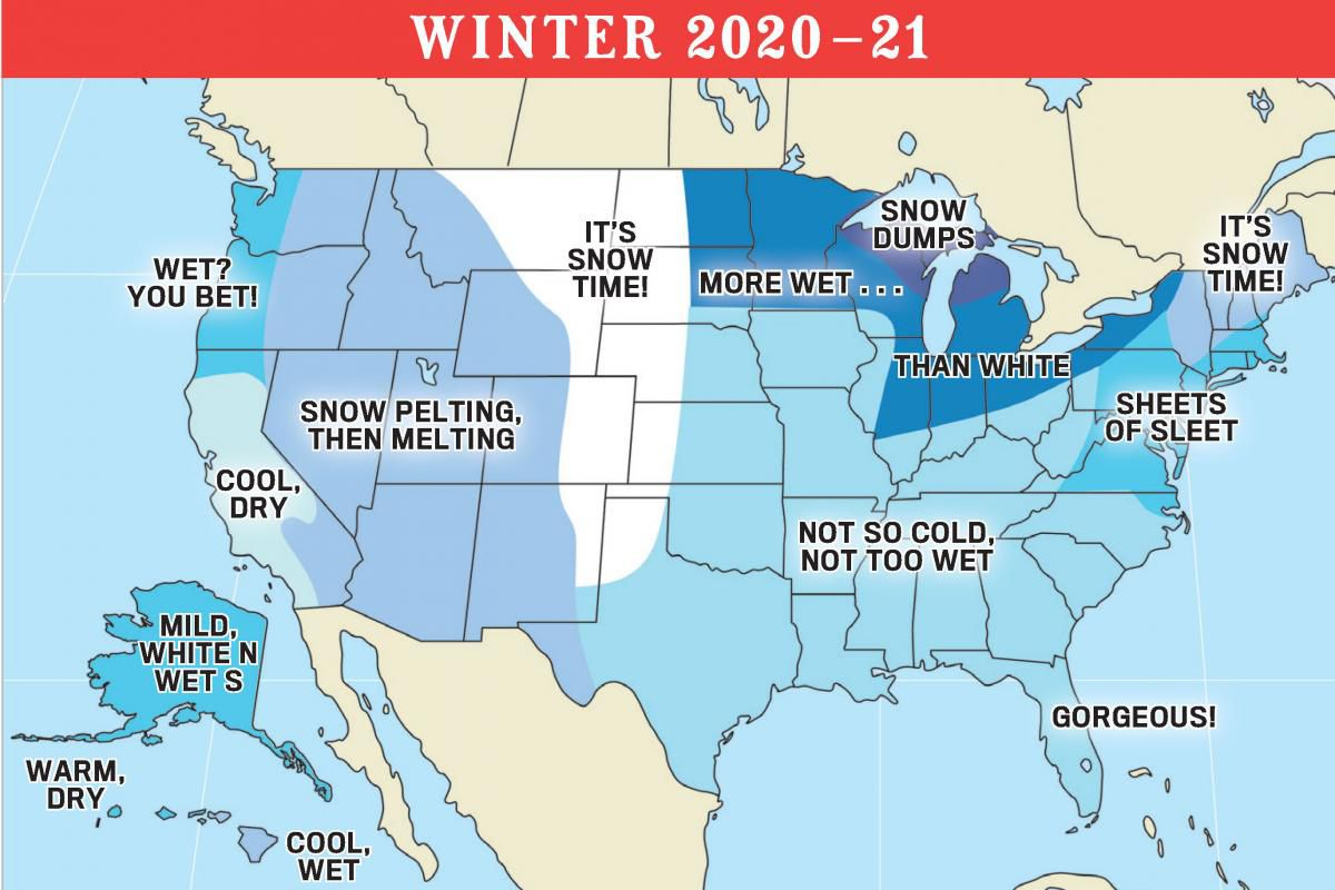 The Old Farmer's Almanac US forecast winter 2020-2021