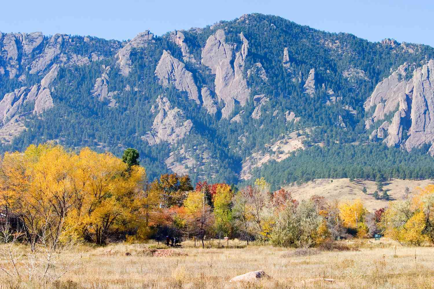 Autumnal colors dress the landscape in front of a looming mountain in Boulder