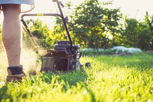 Low angle of man mowing the lawn