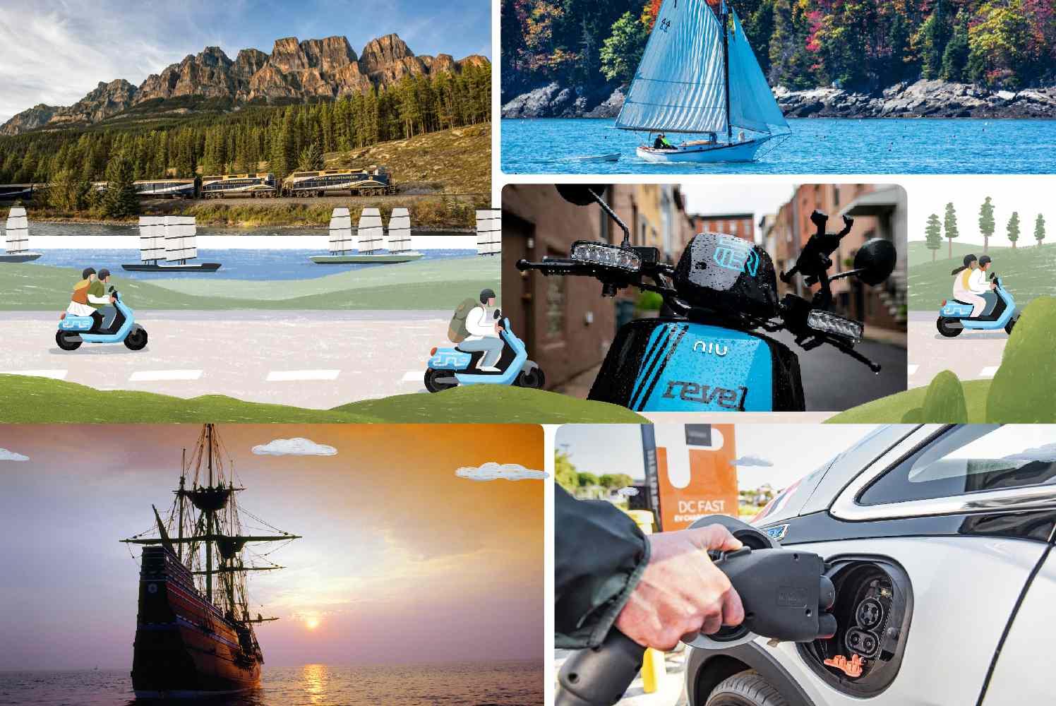 Collage of transportation