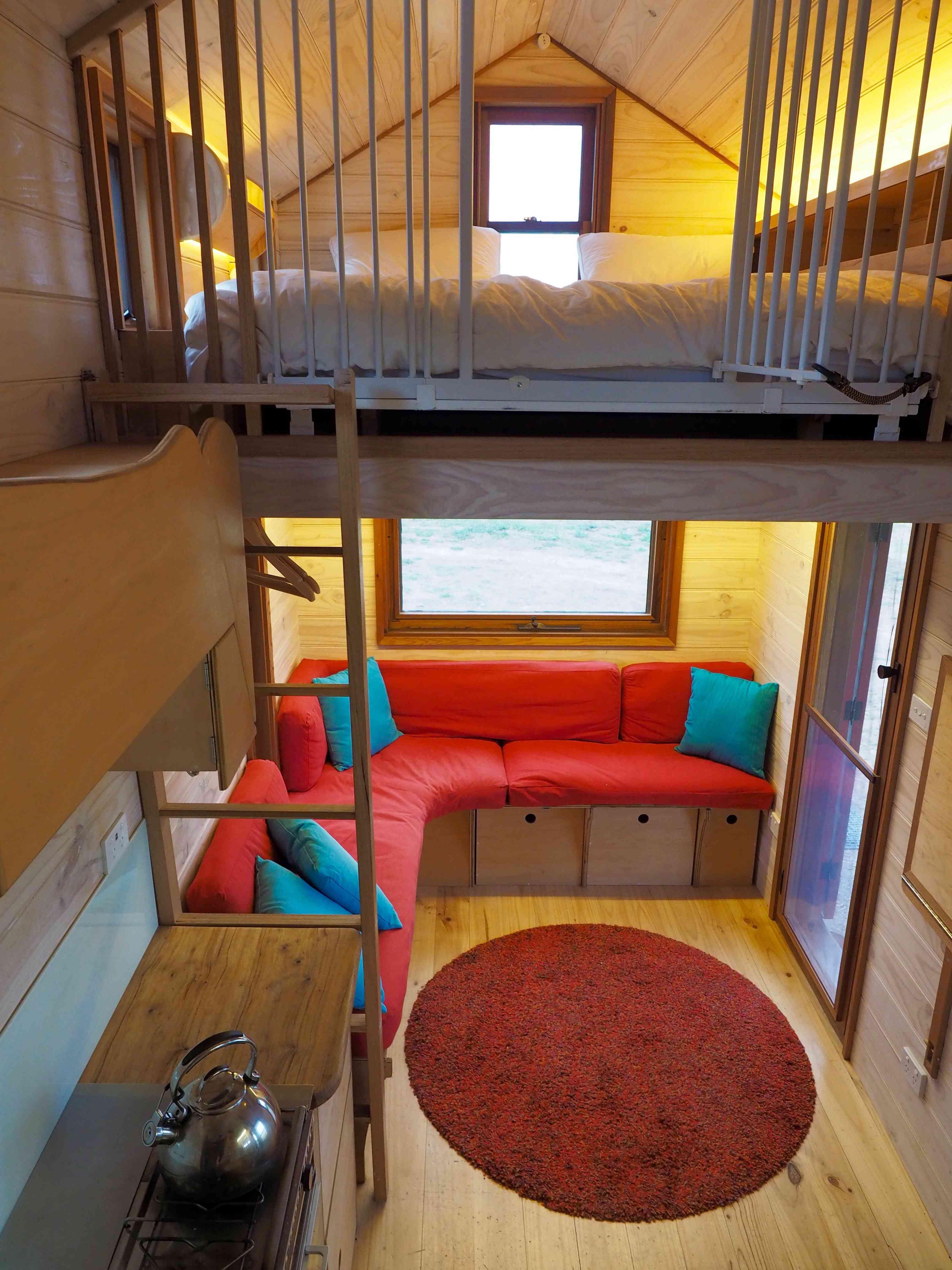 Tiny house interior with loft