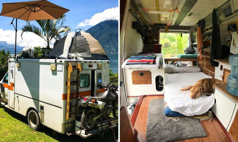 Split view of exterior and interior of the RV