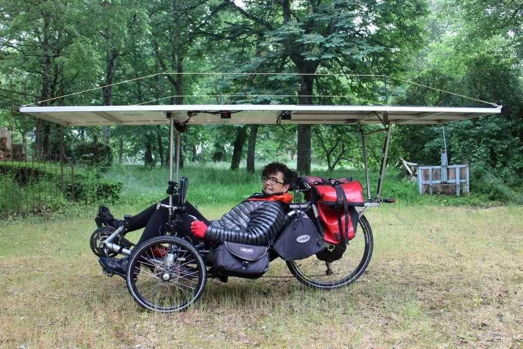Woman riding a recumbent bike