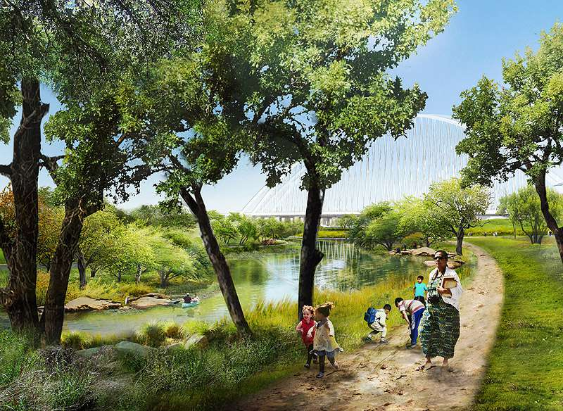 Rendering of Trinity River Park, Dallas