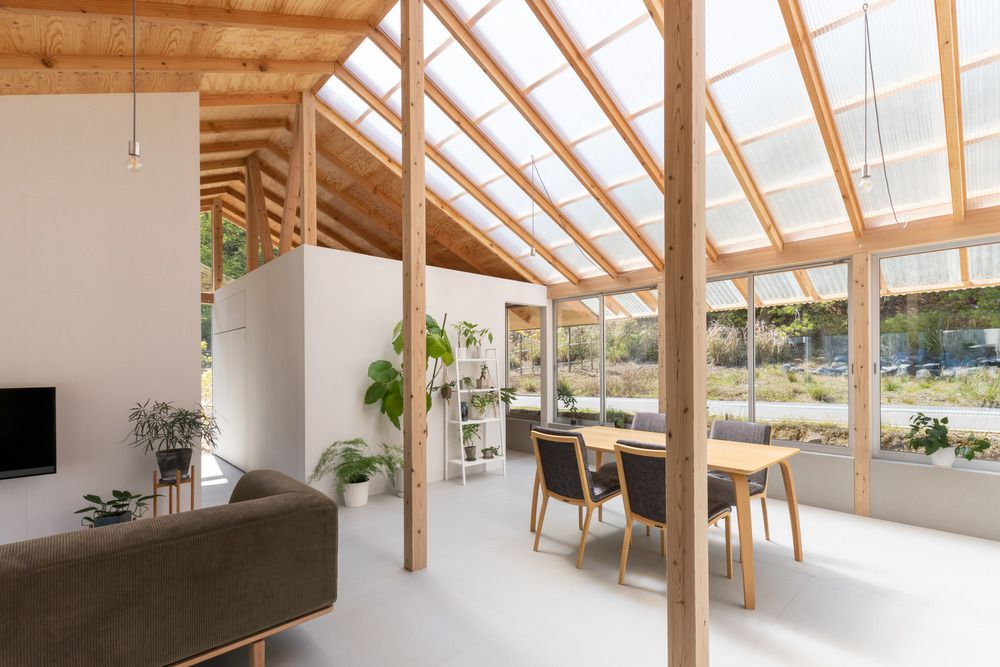 Sunlight diffuses into the living room during the daytime