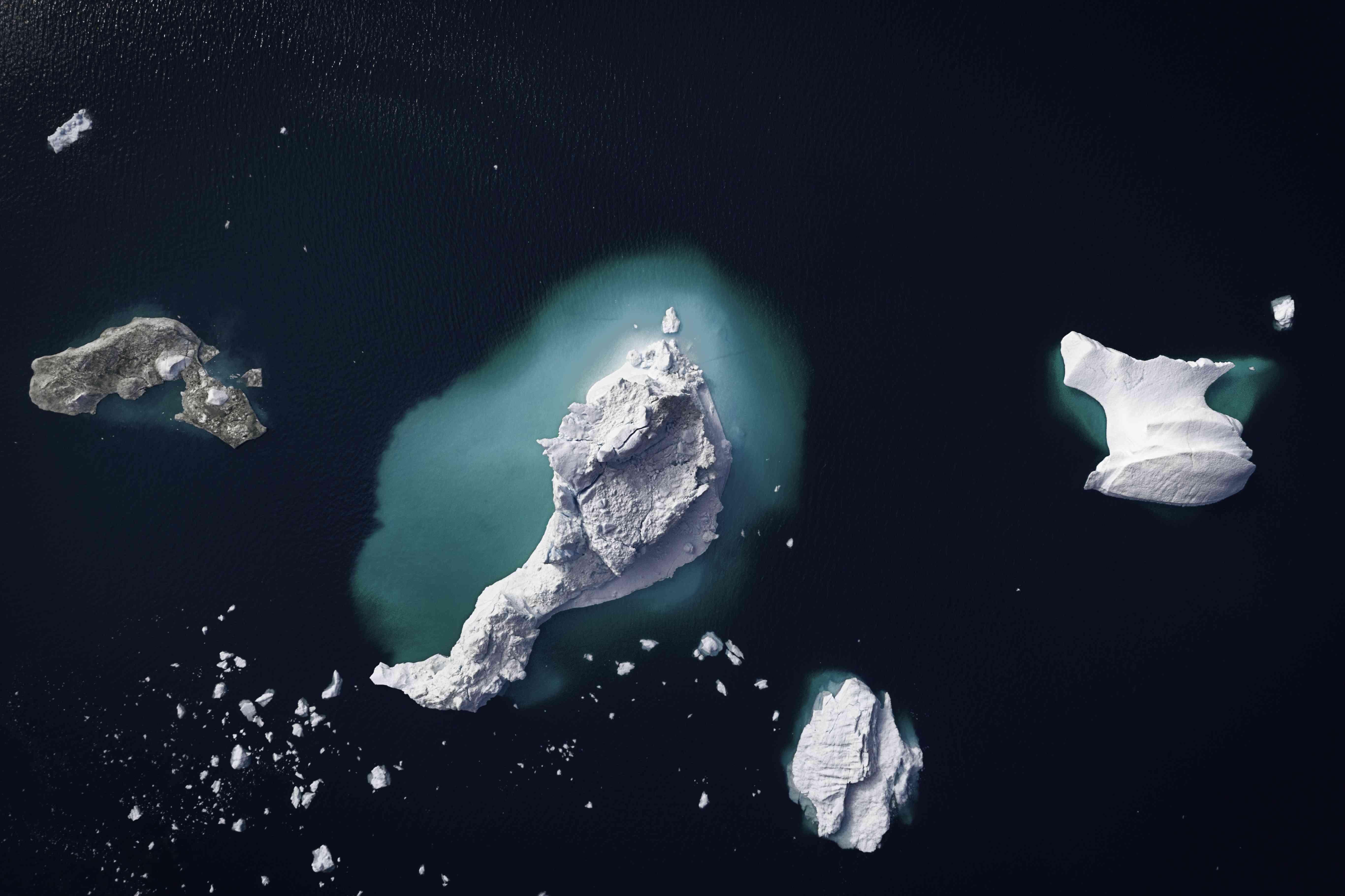 Aerial view of gigantic icebergs