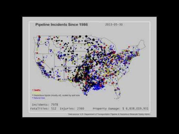 El video muestra todos los derrames de oleoductos en EE. UU. desde 1986