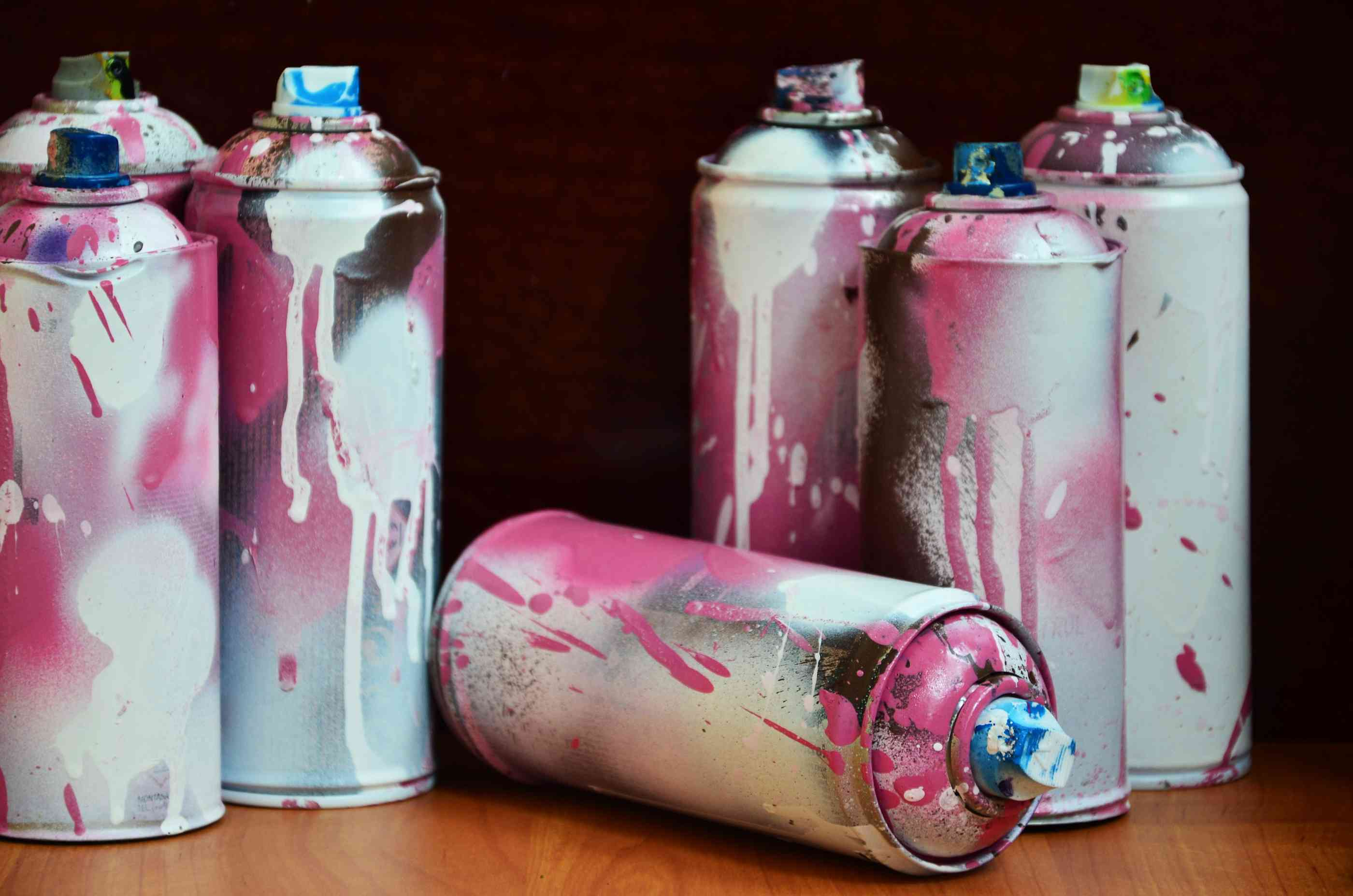 Close up of aerosol paint cans