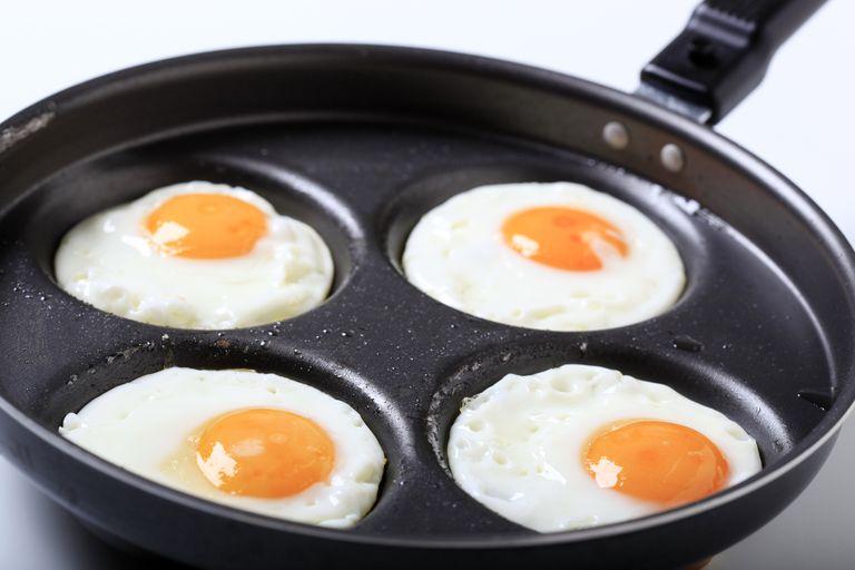 Four fried eggs