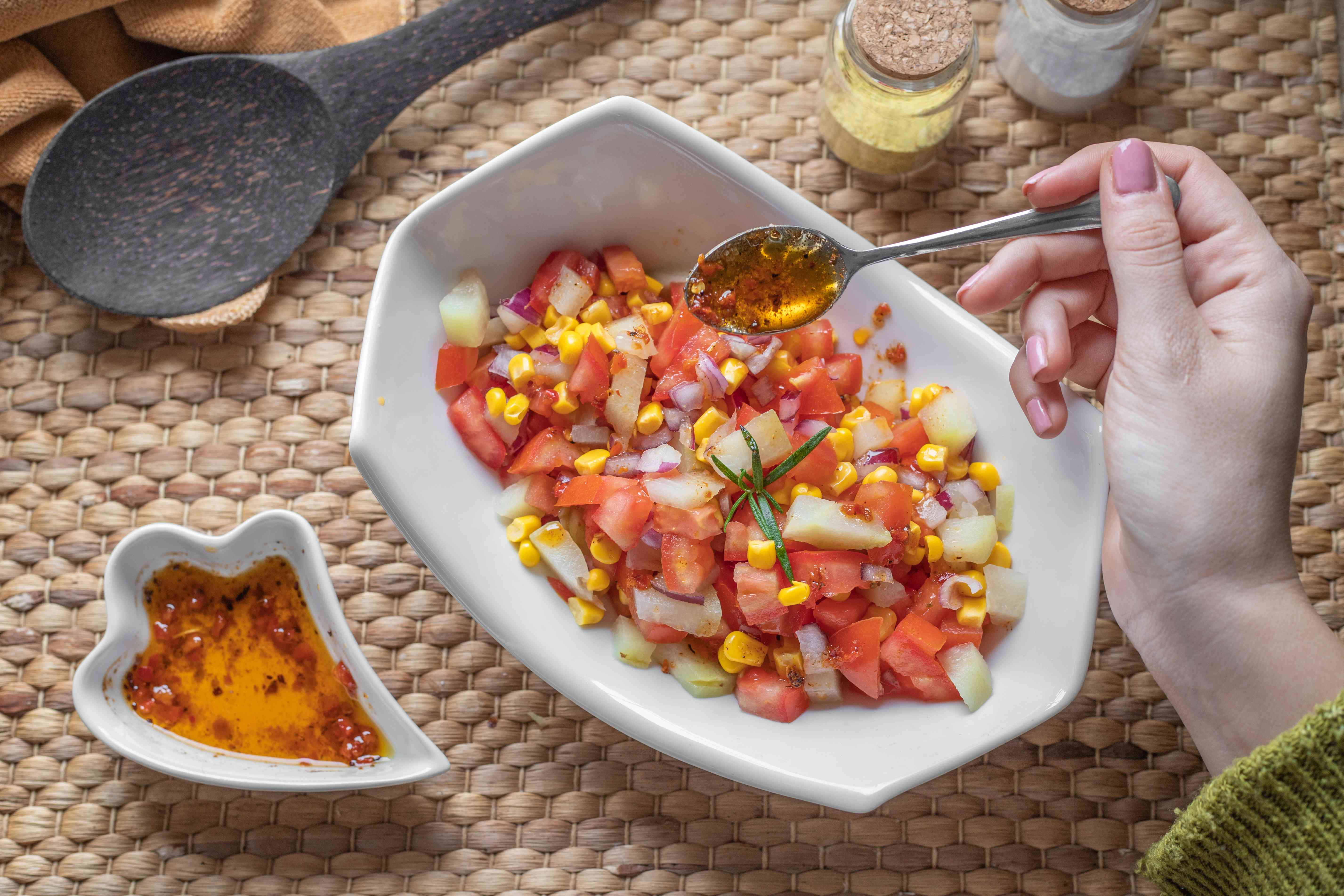 pickled chayote salad with corn and tomatoes