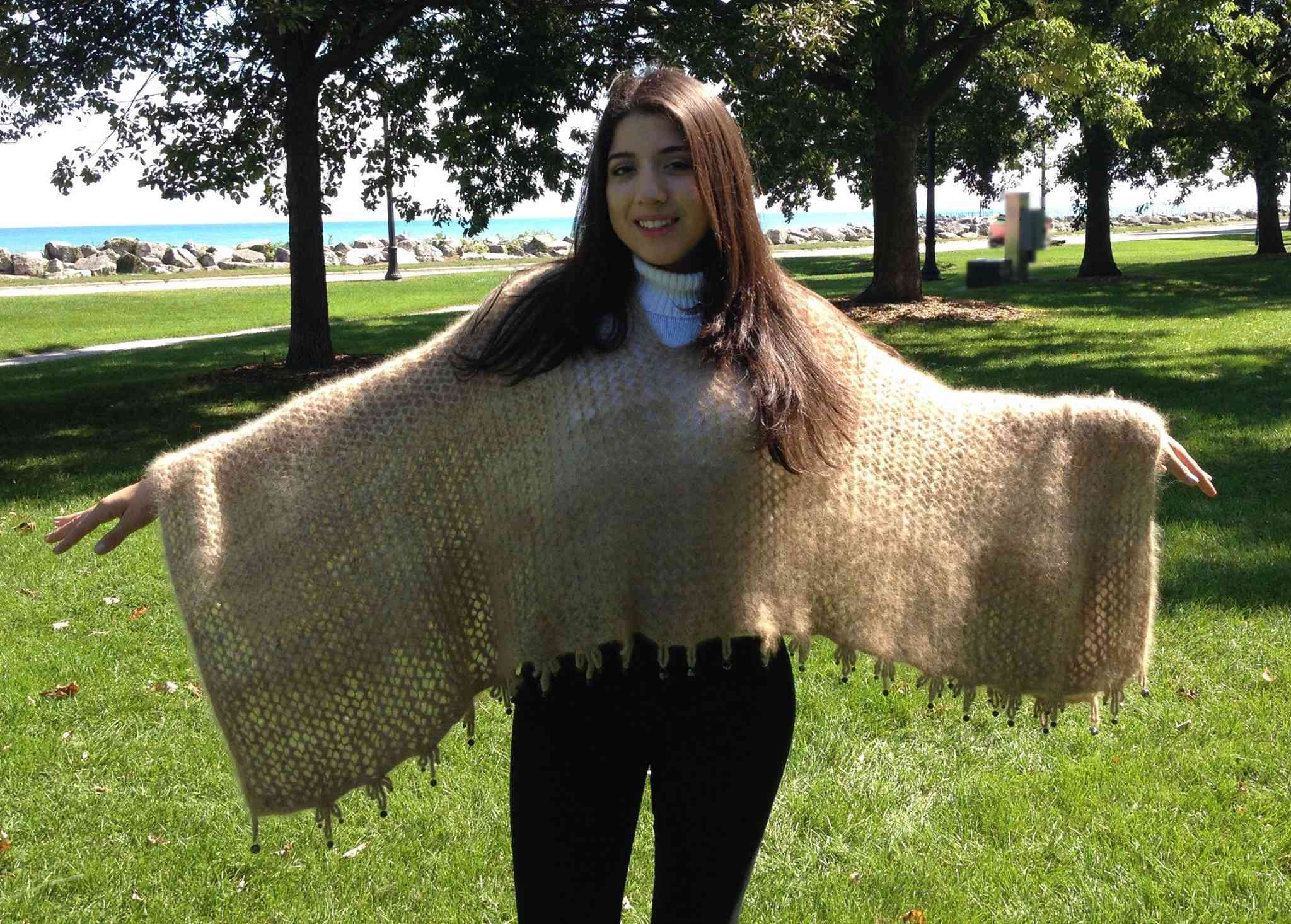 woman modeling dog hair shawl