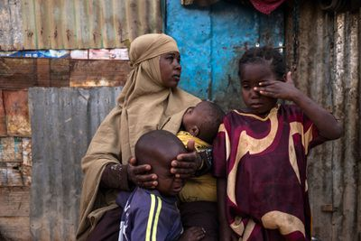Somalian woman with children