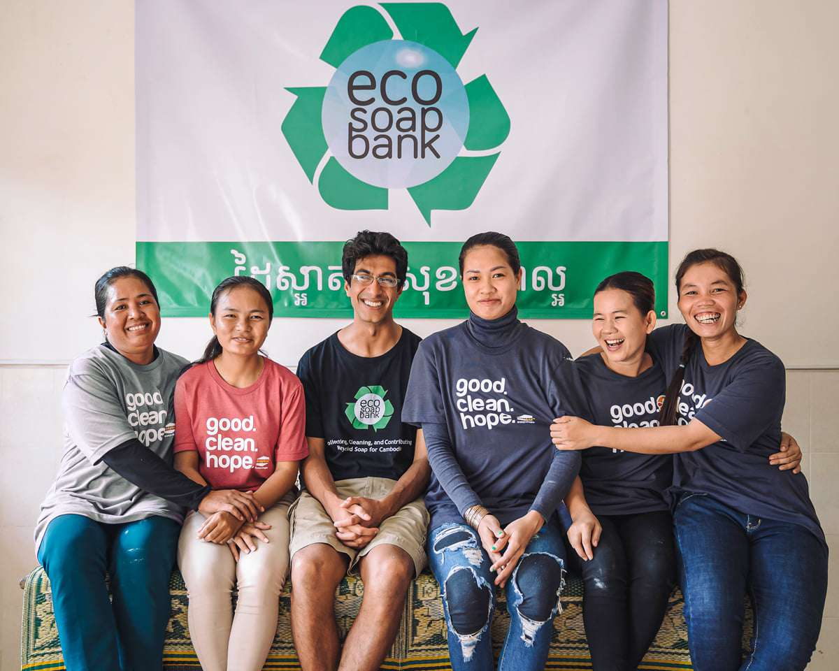 Founder Samir Lakhani with Eco-Soap workers