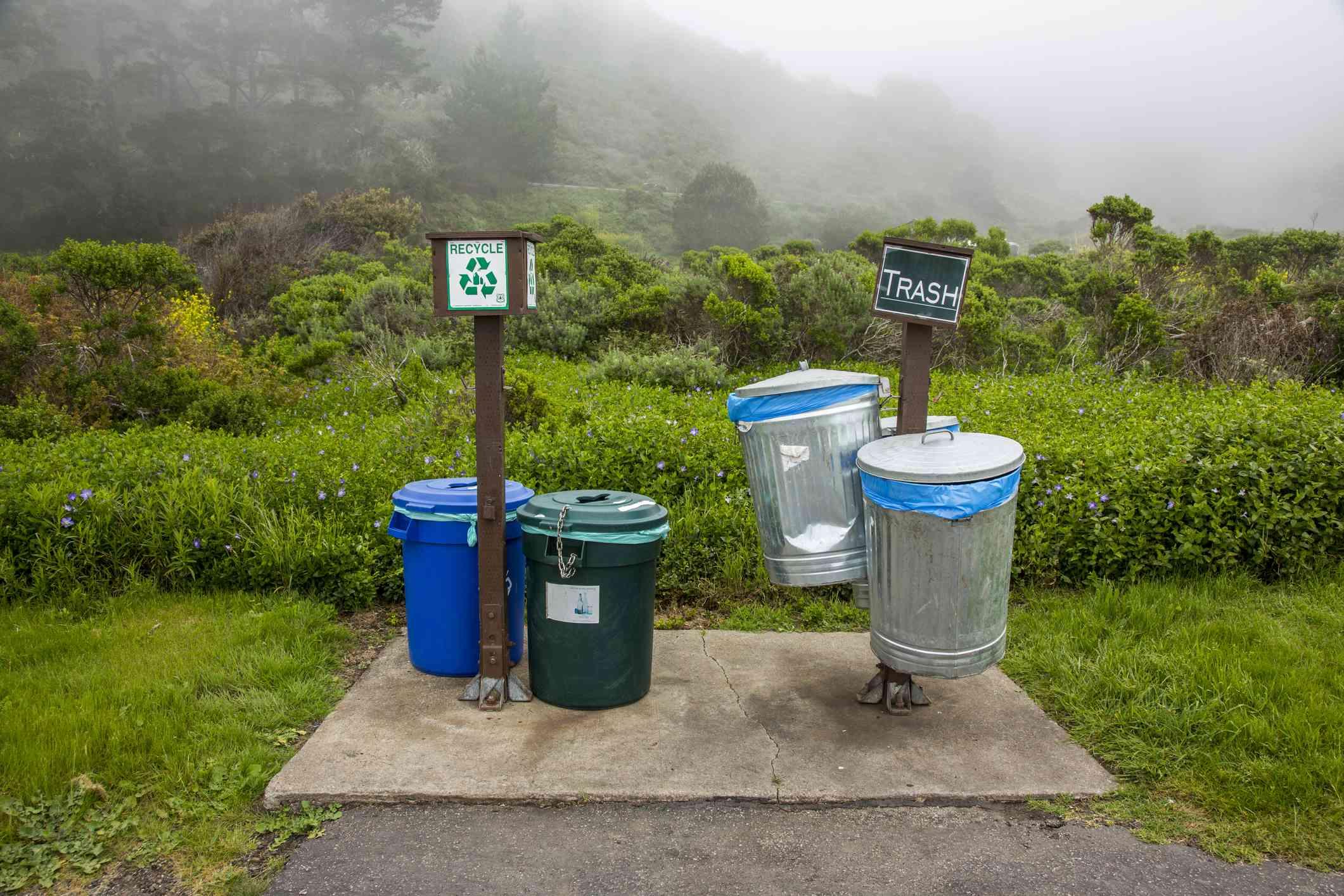 Designated trash facilities in a park