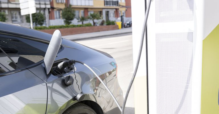 Car charging at electric vehicle station