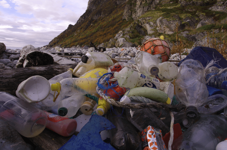 Plastic marine waste accumulated on a beach in Troms, Northern Norway.
