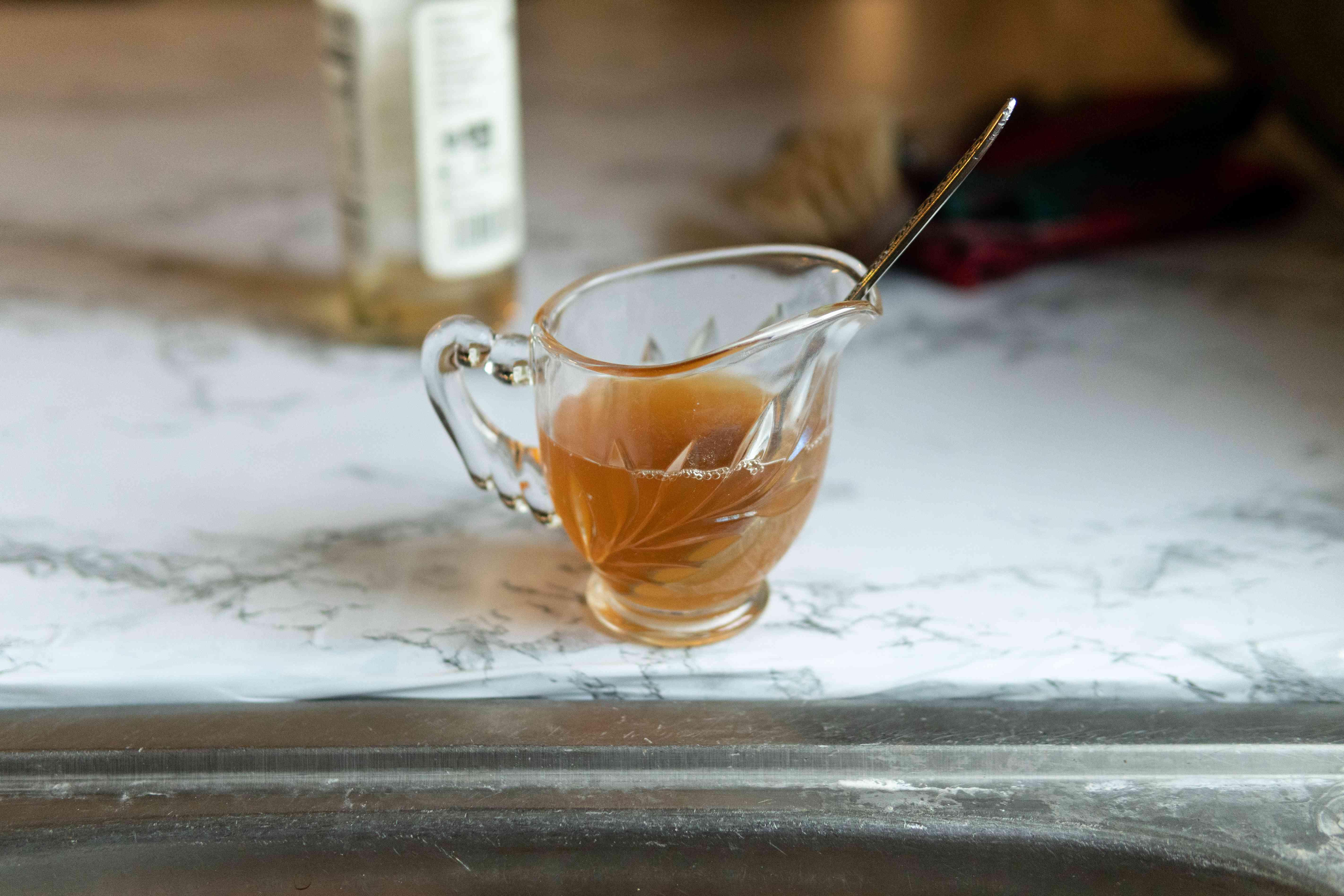 glass serving bowl of apple cider vinegar