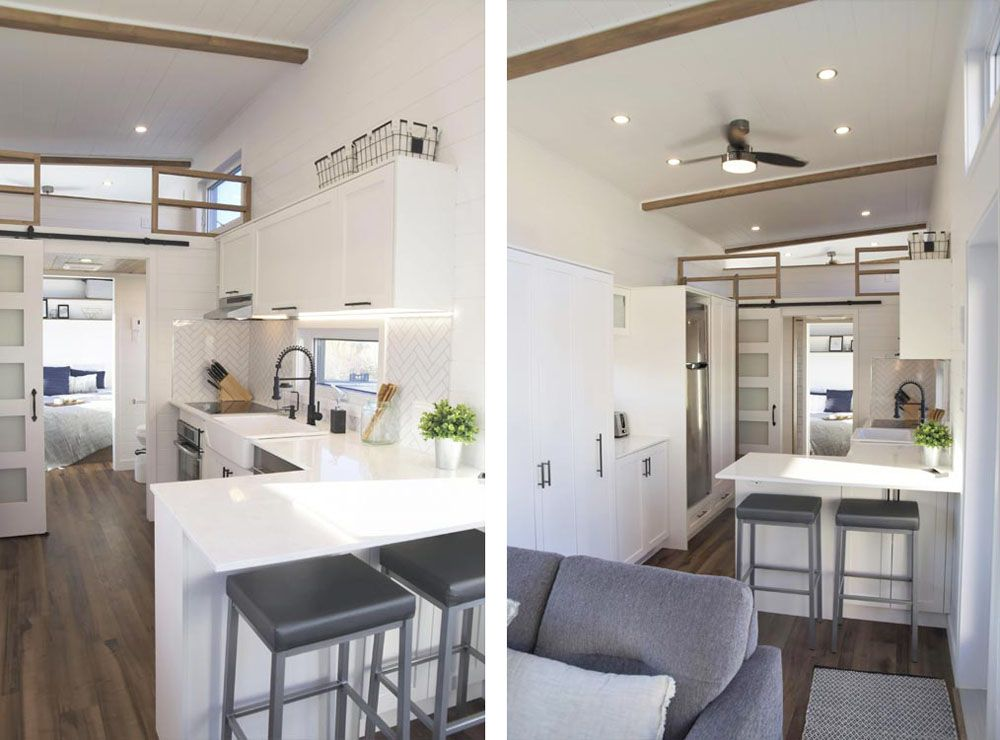 Two different angles of a kitchen countertop with bar stools