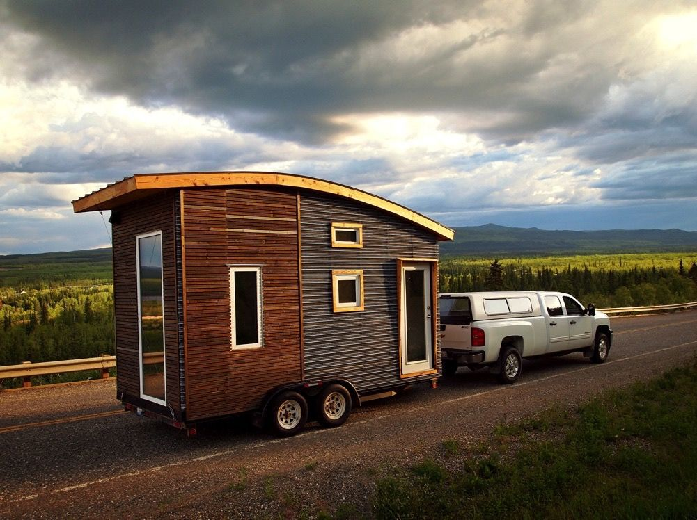 Tiny house being towed