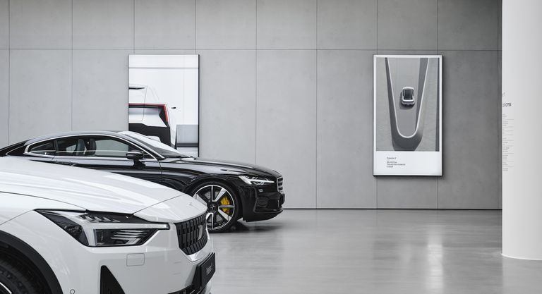 Polestar vehicles in a showroom