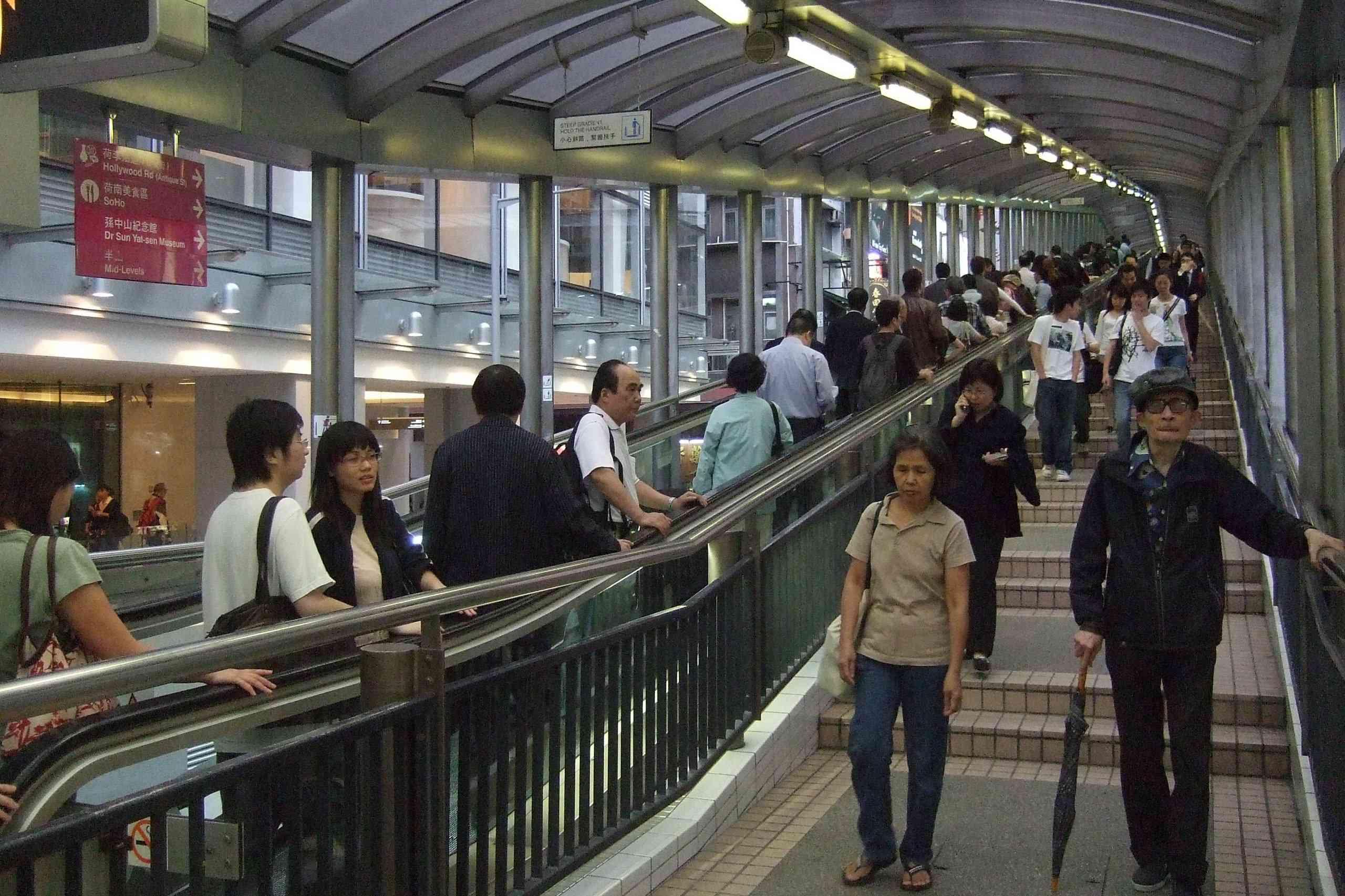 Rush hour on Hong Kong's outdoor escalators
