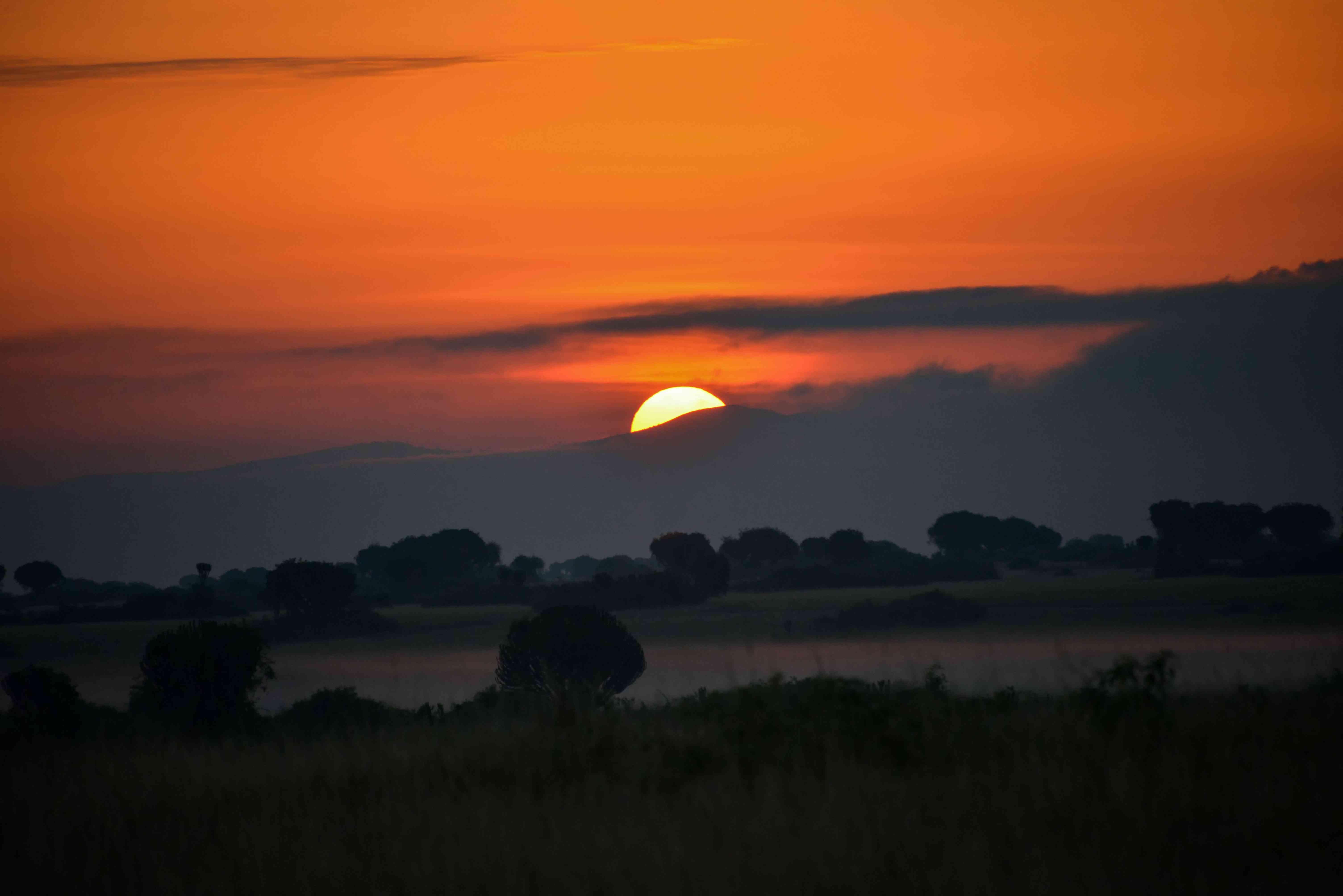 sunset at White Nile River in Uganda