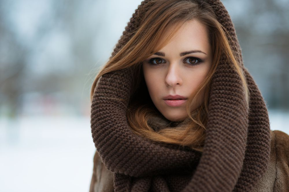 woman wrapped in scarf