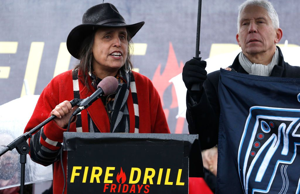 Winona LaDuke speaking at a climate protest