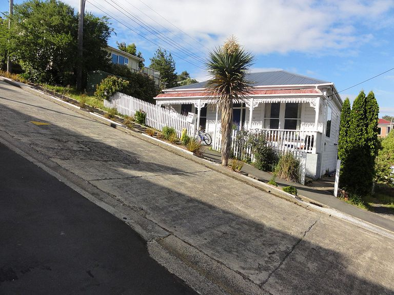 Sharply sloped street with a house and trees under a blue sky