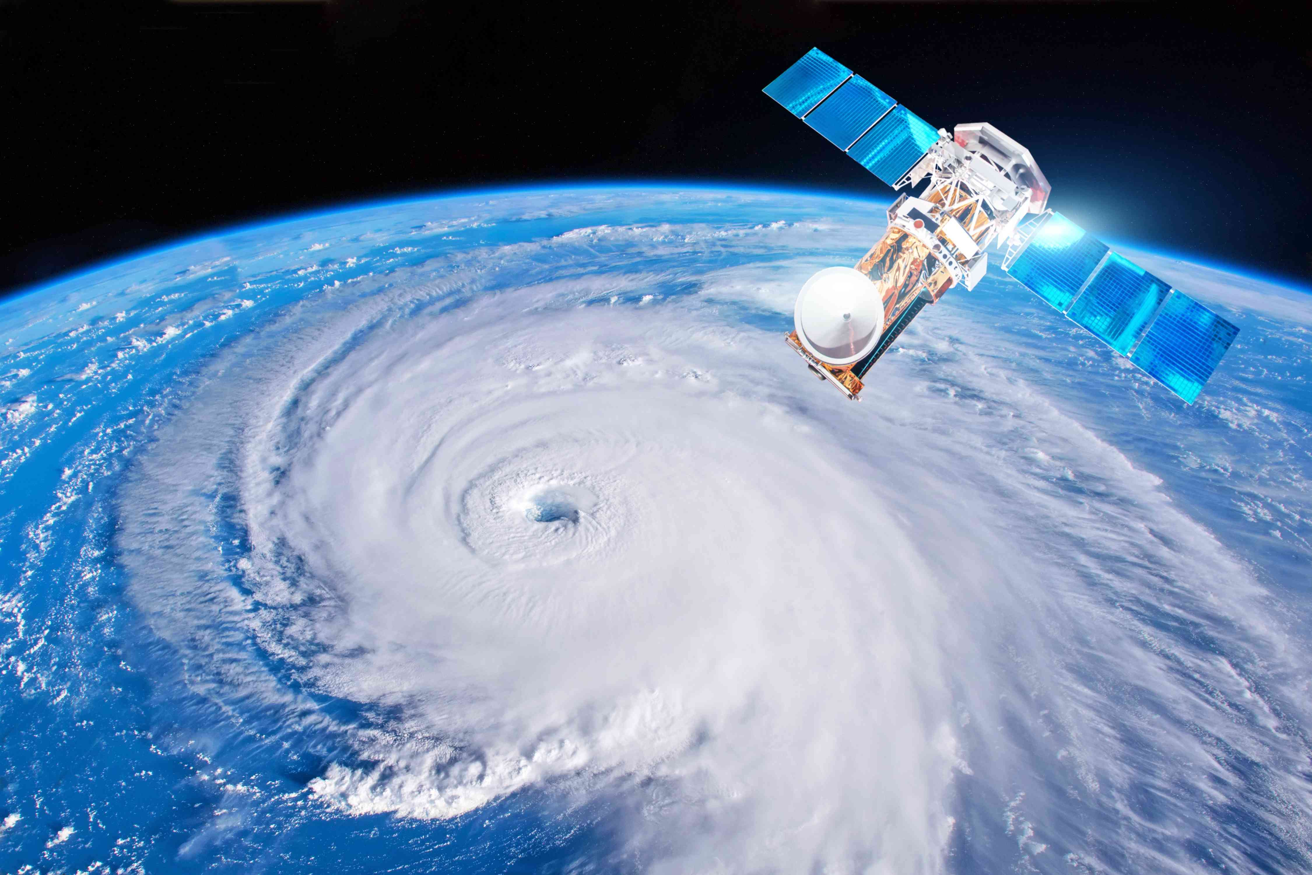 A weather satellite monitoring a hurricane.