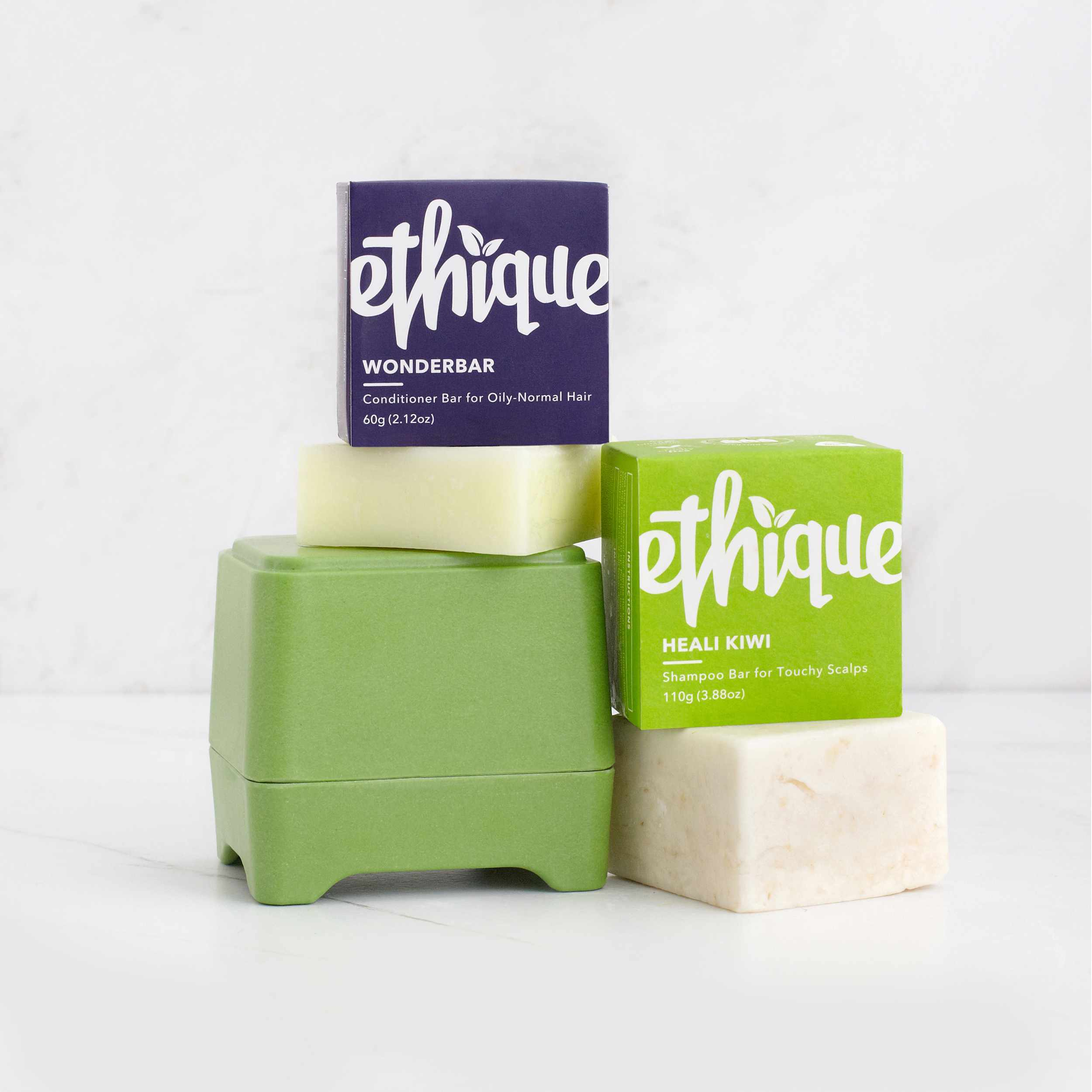 Ethique shampoo bar for hair in with sustainable packaging.