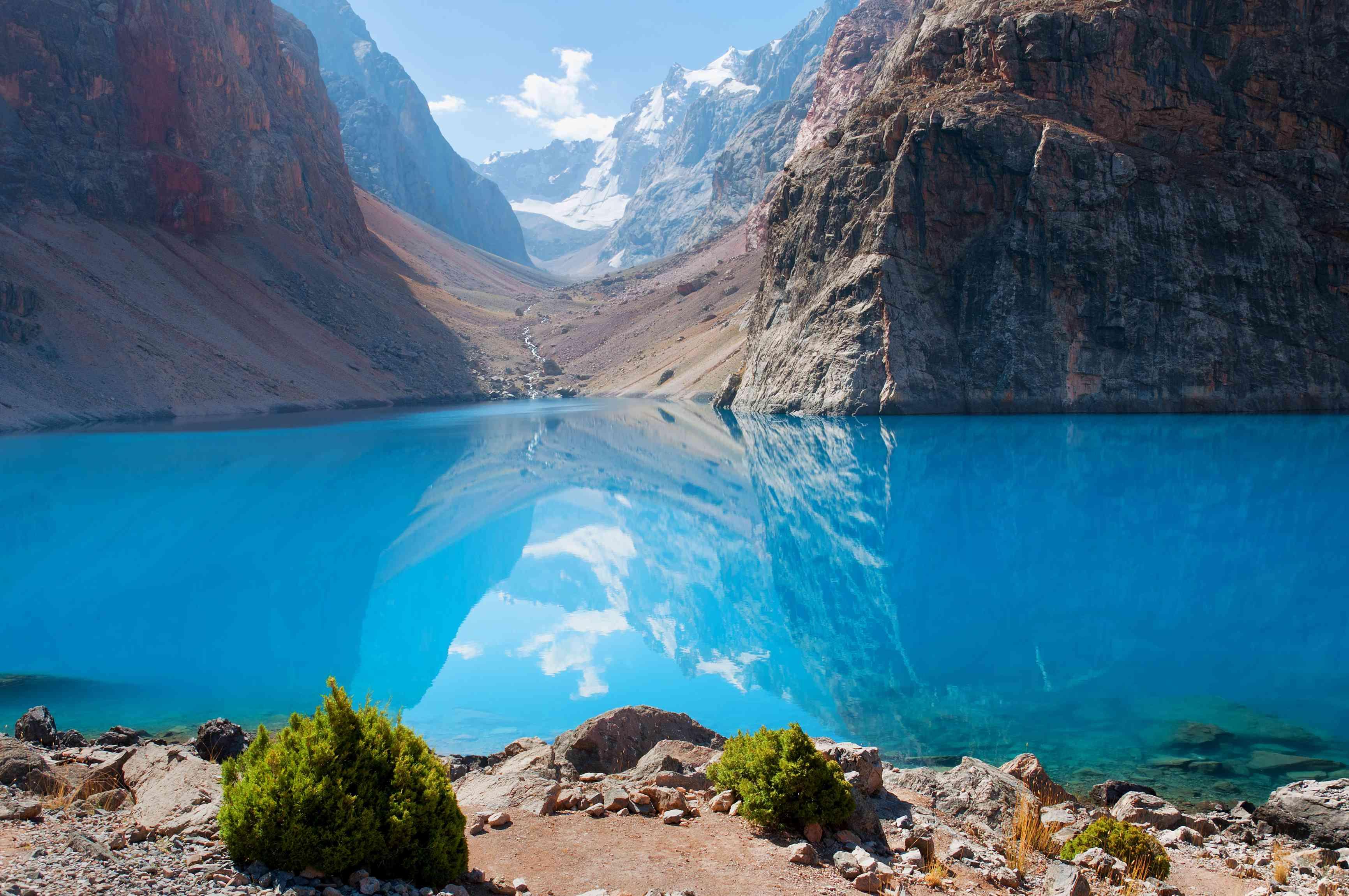 The clear blue waters of Iskanderkul in the Fann Mountains of Tajikistan