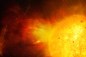 Sun and coronal mass ejection, illustration