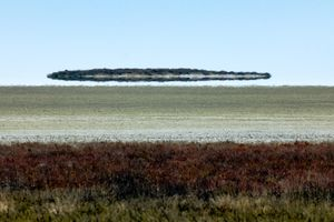 The Fata Morgana superior mirage looks like a flying saucer in a clear, blue sky above the sand and low, brown ground cover of the Etosha pan in Namibia, Africa