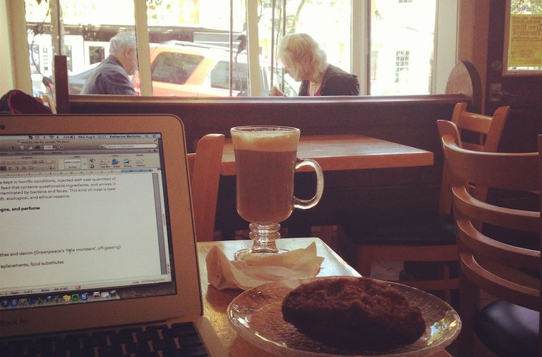 Coffee and laptop in a coffee shop