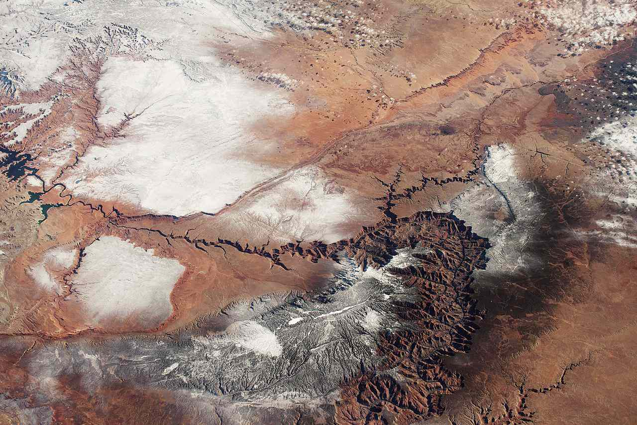 Satellite view of Grand Canyon under snow