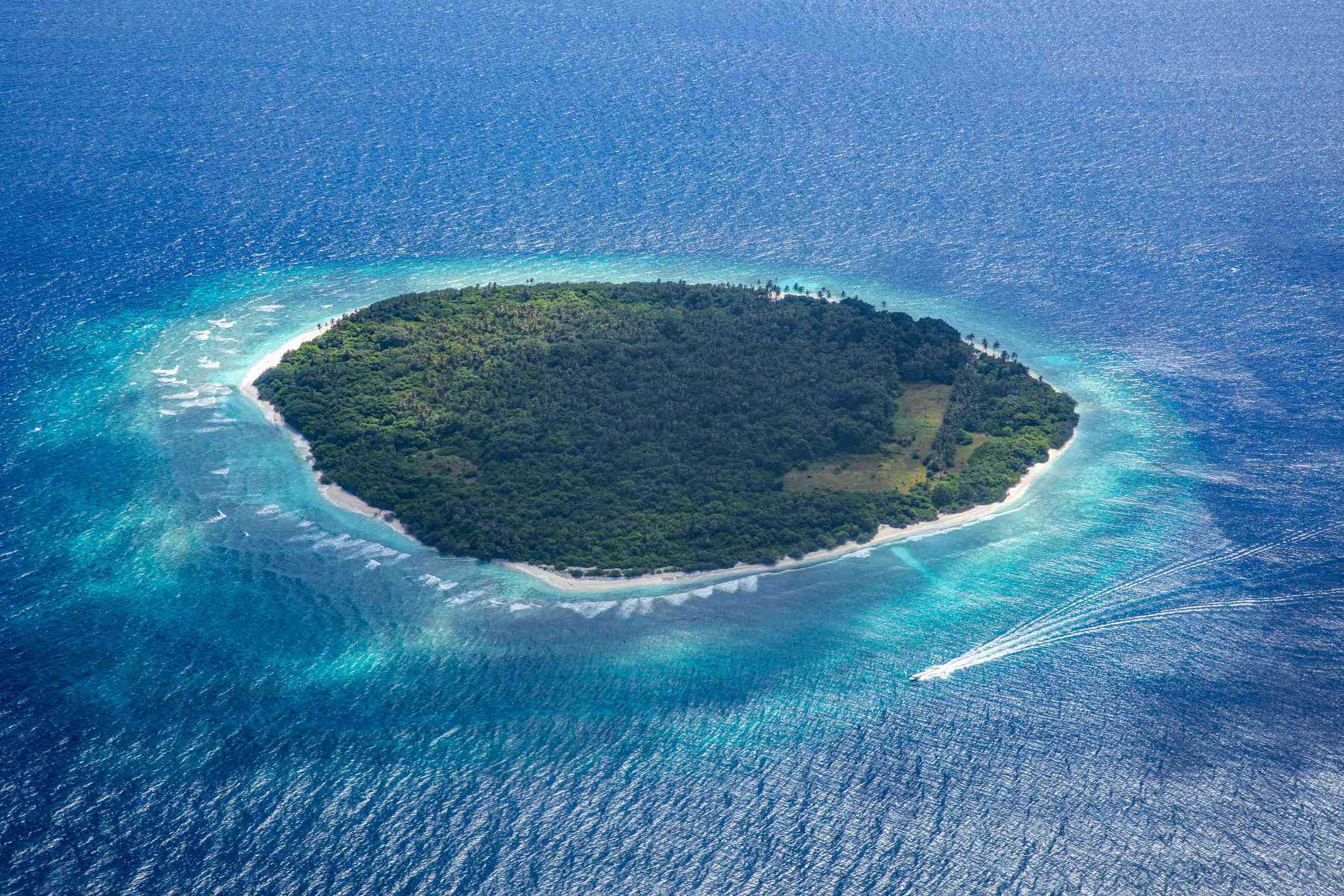 aerial view of one of the Maldives Islands